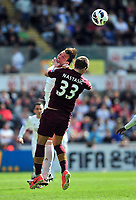 Pictured: (R-L) Matija Nastasic, Michu.<br /> Saturday 04 May 2013<br /> Re: Barclay's Premier League, Swansea City FC v Manchester City at the Liberty Stadium, south Wales.
