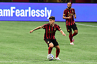 ATLANTA, GA - AUGUST 22: Matheus Rossetto #9 dribbles the ball during a game between Nashville SC and Atlanta United FC at Mercedes-Benz Stadium on August 22, 2020 in Atlanta, Georgia.