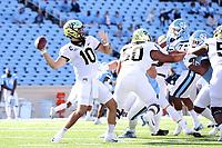 CHAPEL HILL, NC - NOVEMBER 14: Sam Hartman #10 of Wake Forest throws a pass during a game between Wake Forest and North Carolina at Kenan Memorial Stadium on November 14, 2020 in Chapel Hill, North Carolina.