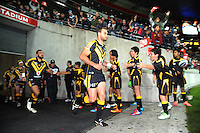 Simon Mannering leads his team out during the NRL match between the NZ Warriors and Canterbury Bulldogs at Westpac Stadium, Wellington, New Zealand on Saturday, 11 May 2013. Photo: Dave Lintott / lintottphoto.co.nz