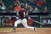 Tanner Allen (5) of the Mississippi State Bulldogs follows through on his swing against Louisiana Ragin' Cajuns in game three of the 2018 Shriners Hospitals for Children College Classic at Minute Maid Park on March 2, 2018 in Houston, Texas.  The Bulldogs defeated the Ragin' Cajuns 3-1.   (Brian Westerholt/Four Seam Images)