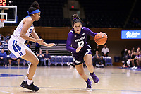 DURHAM, NC - NOVEMBER 17: Veronica Burton #12 of Northwestern University drives the lane during a game between Northwestern University and Duke University at Cameron Indoor Stadium on November 17, 2019 in Durham, North Carolina.