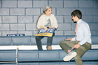 """Nicholas Dadekian (right), of Upper Saddle River, New Jersey, and Judith Klinghoffer, of Wilton, New Hampshire, talk about what they like about Democratic presidential candidate and former South Bend, Ind., mayor Pete Buttigieg after the candidate's Primary Night rally at Nashua Community College in Nashua, New Hampshire, on Tue., Feb. 11, 2020. Democratic presidential candidate and Vermont senator Bernie Sanders was projected to win the New Hampshire Democratic Primary, but Buttigieg came in a close second. Klinghoffer said, """"He listens to you and he answers you...That's character, not policy. It's what you want in a leader."""""""