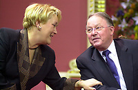 Quebec (QC) CANADA -March 8 2001 file photo - Pauline Marois (L) talk to <br /> Bernard Landry is sworm as Quebec Premier, replacing Lucien Bouchard who also stepped down as PQ leader<br /> ,Bernard Landry