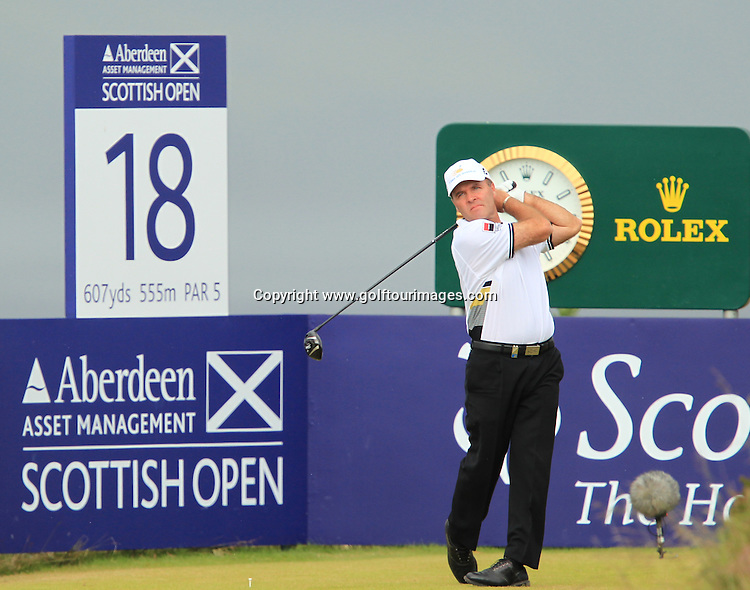 Thomas Levet (FRA) during the third round of the 2012 Aberdeen Asset Management Scottish Open being played over the links at Castle Stuart, Inverness, Scotland from 12th to 15th July 2012:  Stuart Adams www.golftourimages.com:14th July 2012