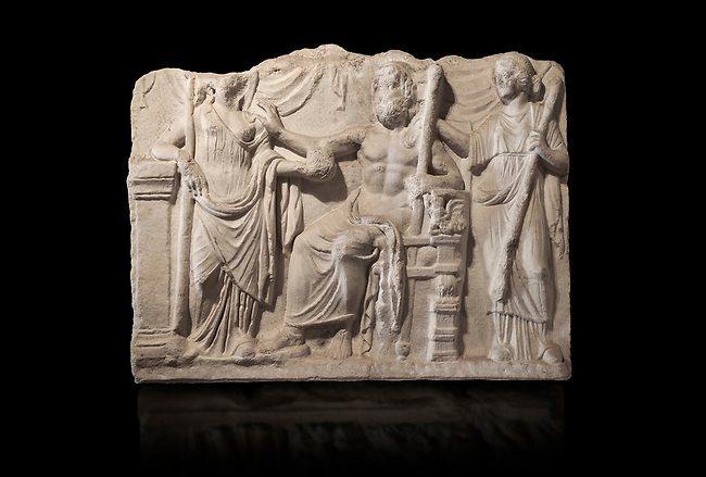 Roman relief sculpture of the Marriage of Zeus and Leto Hieros Gamos. Roman 2nd century AD, Hierapolis Theatre.. Hierapolis Archaeology Museum, Turkey . Against an black background