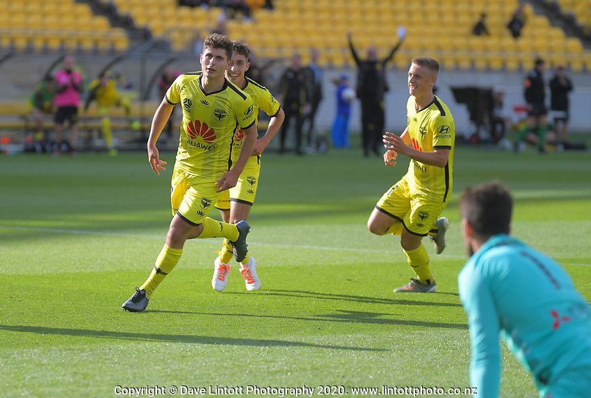 Phoenix's Liberato Cacace celebrates scoring the second goal during the ISPS Handa Premiership football match between Wellington Phoenix Reserves and Southern United at Sky Stadium in Wellington, New Zealand on Saturday, 11 January 2020. Photo: Dave Lintott / lintottphoto.co.nz