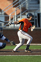 J.C. Escarra (43) of the Frederick Keys follows through on his swing against the Buies Creek Astros at Jim Perry Stadium on April 28, 2018 in Buies Creek, North Carolina. The Astros defeated the Keys 9-4.  (Brian Westerholt/Four Seam Images)