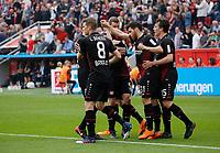 Leverkusen, Germany, 1. Football- BL,  match day 30,<br />Bayer Leverkusen - Eintracht Frankfurt 4-114 .04.2018  in Bay-Arena in Leverkusen<br />Kevin VOLLAND (LEV) 2. v.re,. celebration and seinen Kameraden   seinem Treffer  2-1<br /><br /> *** Local Caption *** © pixathlon<br /> Contact: +49-40-22 63 02 60 , info@pixathlon.de