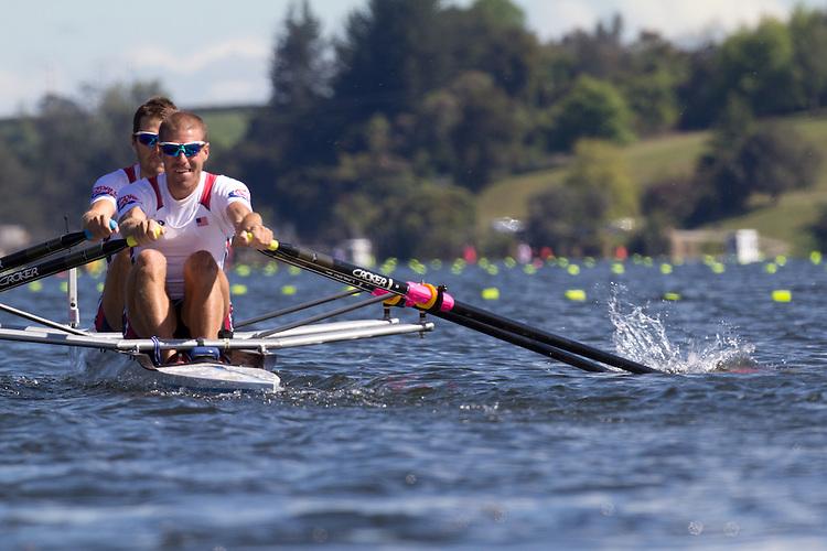Rowing, United States Men's lightweight double, Jonathan Winter, bow, Brian De Regt, stroke, heat, Monday 1 November, 2010 FISA World Rowing Championships, Lake Karapiro, Hamilton, New Zealand,