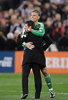 DC United goalkeeper Pat Onstad (20) celebrates with Head Coach Ben Olsen the victory at the end of the game.  DC United defeated The Columbus Crew 3-1  at the home season opener, at RFK Stadium, Saturday March 19, 2011.
