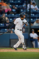 Scranton/Wilkes-Barre RailRiders right fielder Mason Williams (9) bats during a game against the Pawtucket Red Sox on May 15, 2017 at PNC Field in Moosic, Pennsylvania.  Scranton defeated Pawtucket 8-4.  (Mike Janes/Four Seam Images)