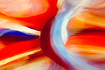 Colorful orange and red abstract with painterly effect.  Center swirl through vertical lines.