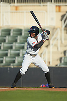 Eric Jenkins (5) of the Hickory Crawdads at bat against the Kannapolis Intimidators at Kannapolis Intimidators Stadium on May 2, 2018 in Kannapolis, North Carolina.  The Intimidators defeated the Crawdads 9-6.  (Brian Westerholt/Four Seam Images)