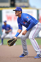 Round Rock Express first baseman Ronad Guzman (31) in action during a game against the Iowa Cubs at Principal Park on April 16, 2017 in Des  Moines, Iowa.  The Cubs won 6-3.  (Dennis Hubbard/Four Seam Images)