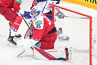 29th May 2021; Olympic Sports Centre, Riga, Latvia; IIHF World Championship Ice Hockey, Czech Republic versus Great Britain;  goalkeeper Roman Will Czech Republic cannot hold the saved puck