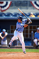 Charlotte Stone Crabs second baseman Jace Conrad (19) at bat during a game against the Palm Beach Cardinals on April 10, 2016 at Charlotte Sports Park in Port Charlotte, Florida.  Palm Beach defeated Charlotte 4-1.  (Mike Janes/Four Seam Images)