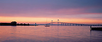 A gorgeous panorama of Newport Bridge in the late afternoon