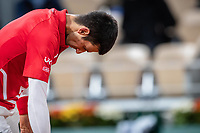 11th October 2020, Roland Garros, Paris, France; French Open tennis, mens singles final 2020; Novak DJOKOVIC of Serbia disappointed against Rafael NADAL of Spain in the mens final match during the French Open tennis tournament