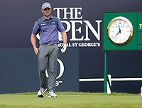 15th July 2021; Royal St Georges Golf Club, Sandwich, Kent, England; The Open Championship, PGA Tour, European Tour Golf, First Round ;  Daniel Croft (ENG) on the first tee