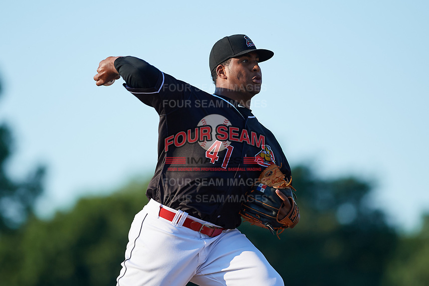 Batavia Muckdogs starting pitcher Alberto Guerrero (41) delivers a pitch during a game against the State College Spikes on July 7, 2018 at Dwyer Stadium in Batavia, New York.  State College defeated Batavia 7-4.  (Mike Janes/Four Seam Images)