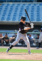 Shortstop Forrest Wall (7) of Orangewood Christian High School in Winter Park, Florida, playing for the Colorado Rockies scout team during the East Coast Pro Showcase on August 2, 2013 at NBT Bank Stadium in Syracuse, New York.  (Mike Janes/Four Seam Images)