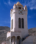 Death Valley National Park, CA<br /> Stucco and tile clock tower at Scotty's Castle