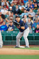 Scranton/Wilkes-Barre RailRiders first baseman Ji-Man Choi (36) holds a runner on during the first game of a doubleheader against the Rochester Red Wings on August 23, 2017 at Frontier Field in Rochester, New York.  Rochester defeated Scranton 5-4 in a game that was originally started on August 22nd but was was postponed due to inclement weather.  (Mike Janes/Four Seam Images)