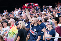 FOXBOROUGH, MA - JULY 25: New England fans celebrate a goal during a game between CF Montreal and New England Revolution at Gillette Stadium on July 25, 2021 in Foxborough, Massachusetts.