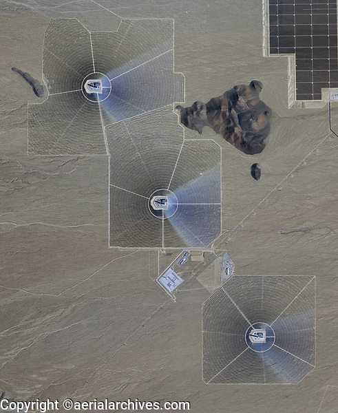 aerial photo map of Ivanpah Solar Electric Generating System, Nipton, San Bernadino County, California, a concentrated solar thermal power plant