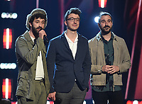 """HOLLYWOOD, CA - MAY 27: L-R: Jack Met, Ryan Met and Adam Met of AJR on the 2021 """"iHeartRadio Music Awards"""" airing live from The Dolby Theatre in Los Angeles, Thursday, May 27 (8:00-10:00 PM ET live / PT tape-delayed) on FOX.  (Photo by Frank Micelotta/FOX/PictureGroup)"""