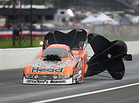 Aug 31, 2019; Clermont, IN, USA; NHRA funny car driver Jonnie Lindberg during qualifying for the US Nationals at Lucas Oil Raceway. Mandatory Credit: Mark J. Rebilas-USA TODAY Sports