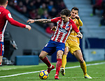Sime Vrsaljko (L) of Atletico de Madrid fights for the ball with Alex Granell Nogue of Girona FC during the La Liga 2017-18 match between Atletico de Madrid and Girona FC at Wanda Metropolitano on 20 January 2018 in Madrid, Spain. Photo by Diego Gonzalez / Power Sport Images