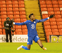 11th February 2021; Oakwell Stadium, Barnsley, Yorkshire, England; English FA Cup 5th round Football, Barnsley FC versus Chelsea; Tammy Abraham of Chelsea appeals for a penalty after contact in the box in the first half but is ignored