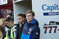 22.11.2014.  Edinburgh, Scotland. Scottish Championship.  Ex Hearts capt Marius Zaliukas, now Rangers pre match Hearts versus Rangers.