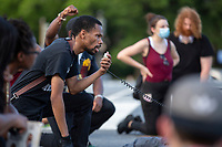 Demonstrators march from Interstate 395 in Washington D.C., U.S., on Tuesday, June 23, 2020.  Trump tweeted that he authorized the Federal government to arrest any demonstrator caught vandalizing U.S. monuments, with a punishment of up to 10 years in prison.  Credit: Stefani Reynolds / CNP/AdMedia