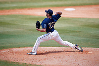 Mobile BayBears relief pitcher Jake Jewell (23) delivers a pitch during a game against the Pensacola Blue Wahoos on April 26, 2017 at Hank Aaron Stadium in Mobile, Alabama.  Pensacola defeated Mobile 5-3.  (Mike Janes/Four Seam Images)