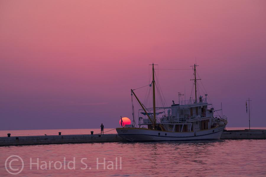 Beautiful sunset in the seaside Croatian town of Rovinj.
