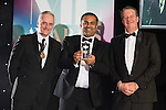 © Joel Goodman - 07973 332324 . 03/03/2016 . Manchester , UK . Michael Hardacre , president of Manchester Law Society , Team of the Year winner-  Property , VAQAS FAROOQ (obo Shoosmiths ) (centre) . The Manchester Legal Awards from the Midland Hotel . Photo credit : Joel Goodman
