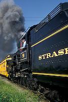 AJ2992, Lancaster County, engine, Pennsylvania, locomotive, excursion train, Strasburg Rail Road Company, train, Steam locomotive pulls the passenger train through the Amish Country in Strasburg in Pennsylvania Dutch Country in the state of Pennsylvania.