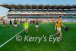 Jack Barry, Kerry, Dara Moynihan, Kerry, Jack Sherwood, Kerry, Goalkeeper, Shane Ryan, Kerry, Players after the Senior football All Ireland Semi-Final between Kerry and Tyrone at Croke park on Saturday.