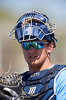 Tampa Bay Rays catcher Chris Betts (26) warms up before a Minor League Spring Training game against the Minnesota Twins on March 17, 2018 at CenturyLink Sports Complex in Fort Myers, Florida.  (Mike Janes/Four Seam Images)