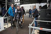 Fabian Cancellara (CHE/TrekFactoryRacing) riding off the start podium; ready to race!<br /> <br /> Ronde van Vlaanderen 2014