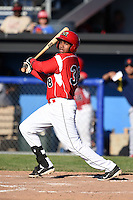 Batavia Muckdogs outfielder Wildert Pujols (38) at bat during a game against the State College Spikes on June 22, 2014 at Dwyer Stadium in Batavia, New York.  State College defeated Batavia 10-3.  (Mike Janes/Four Seam Images)