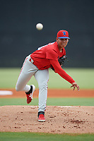 GCL Phillies West pitcher Eduar Segovia (58) during a Gulf Coast League game against the GCL Yankees East on July 26, 2019 at the New York Yankees Minor League Complex in Tampa, Florida.  (Mike Janes/Four Seam Images)