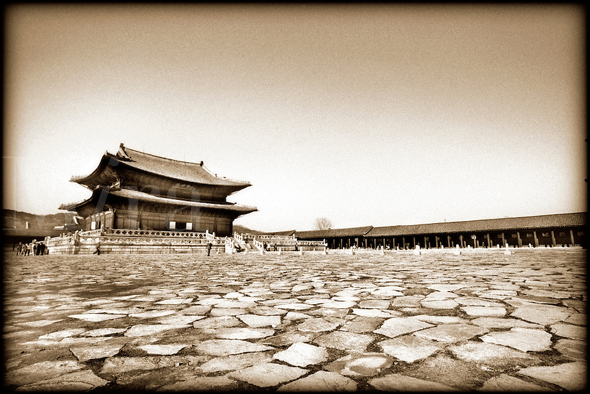 Korean architecture and courtyard.