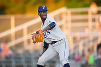 Princeton Rays relief pitcher Thomas Lebron (13) in action against the Danville Braves at American Legion Post 325 Field on June 25, 2017 in Danville, Virginia.  The Braves walked-off the Rays 7-6 in 11 innings.  (Brian Westerholt/Four Seam Images)