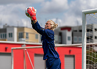 HOUSTON, TX - JUNE 12: Jane Campbell #18 of the USWNT makes a save during a training session at University of Houston on June 12, 2021 in Houston, Texas.