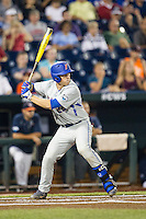 Florida Gators catcher JJ Schwarz (22) at bat during the NCAA College baseball World Series against the Virginia Cavaliers on June 15, 2015 at TD Ameritrade Park in Omaha, Nebraska. Virginia defeated Florida 1-0. (Andrew Woolley/Four Seam Images)