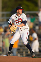 Starting pitcher David Francis (20) of the Danville Braves in action at Dan Daniels Park in Danville, VA, Saturday, August 23, 2008. (Photo by Brian Westerholt / Four Seam Images)